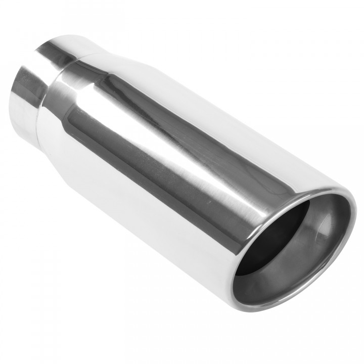 "Magnaflow 35231 - Universal Exhaust Tip - 4"" ID Inlet - 5"" Dia. Round - 13"" Long - Round Rolled 15 deg. Angle Cut - Double Wall - Polished"