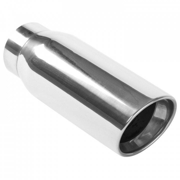 """Magnaflow 35232 - Universal Exhaust Tip - 3.5"""" ID Inlet - 4.5"""" Dia. Round - 12"""" Long - Round Rolled 15 deg. Angle Cut - Double Wall - Polished"""