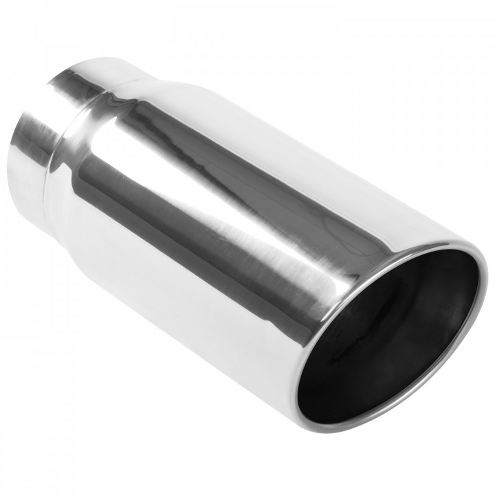"""Magnaflow 35233 - Universal Exhaust Tip - 5"""" ID Inlet - 6"""" Dia. Round - 13"""" Long - 15 deg. Angle Cut - Double Wall - Polished"""