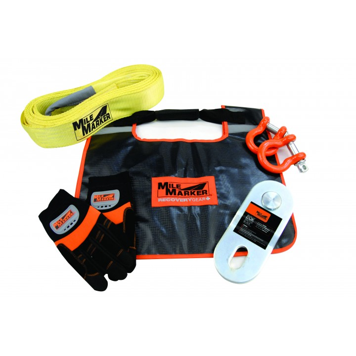 Mile Marker 19-00100 - Winch Accessories Kit - Off Road - Incl. 15 ft. Recovery Strap - Gloves - Shackels - Snatch Block