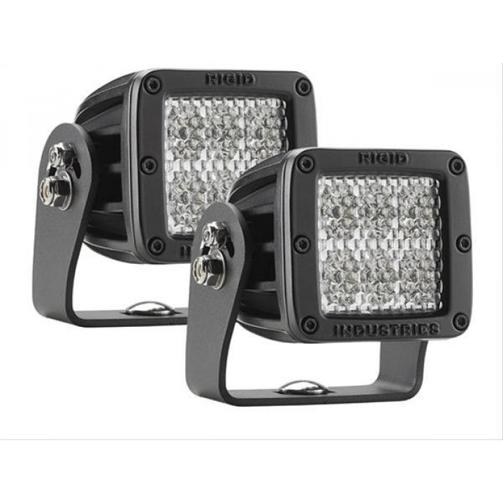 Rigid Industries 52251MIL - D2-Series LED Light - HD - (Diffused) - (60 Deg) - (Black) - (MILSTD461F) - (Pair)