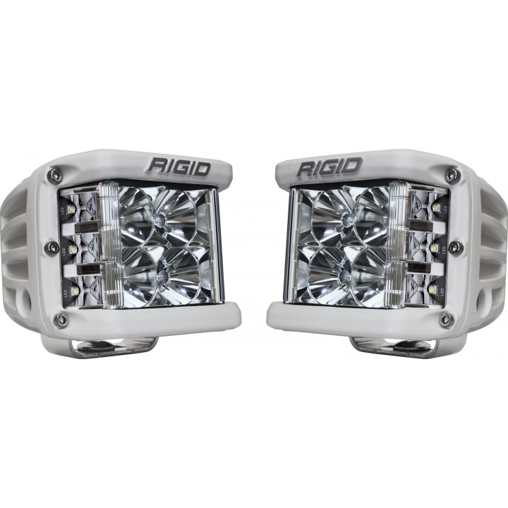 Rigid Industries 86211 - Dually Side Shooter LED Flood Light Cube - (Surface Mount) - (White Housing) - (Pair)