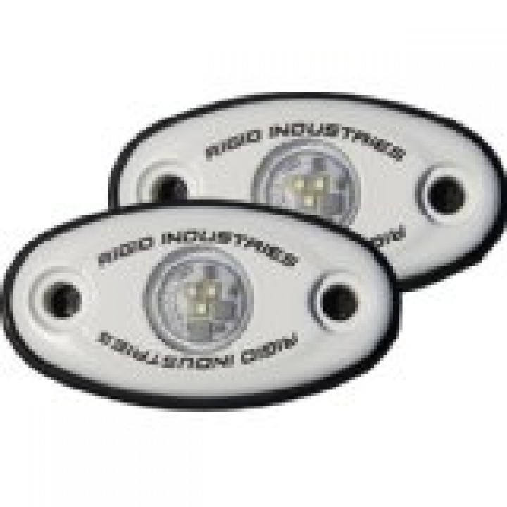 Rigid Industries 48218 - A-Series LED Light, Green LED, Low Strength, White Housing, Set Of 2