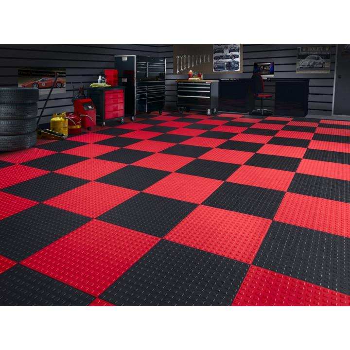WeatherTech 51T1212 RD-BK - TechFloor - Garage Floor Tile - (Red/Black) - (12 in. x 12 in.) - (Pack of 10)