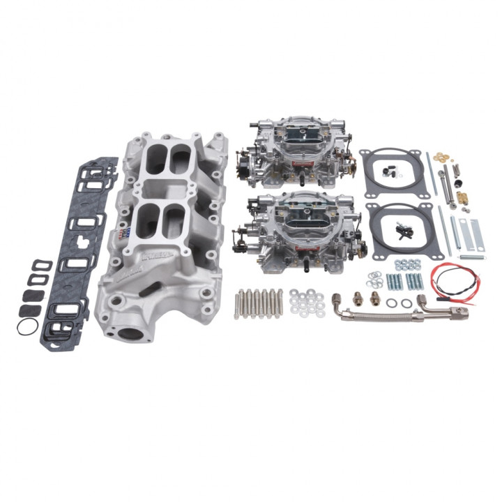 Edelbrock 2035 - Performer RPM Dual Quad Air-Gap Manifold and Carburetor Kits
