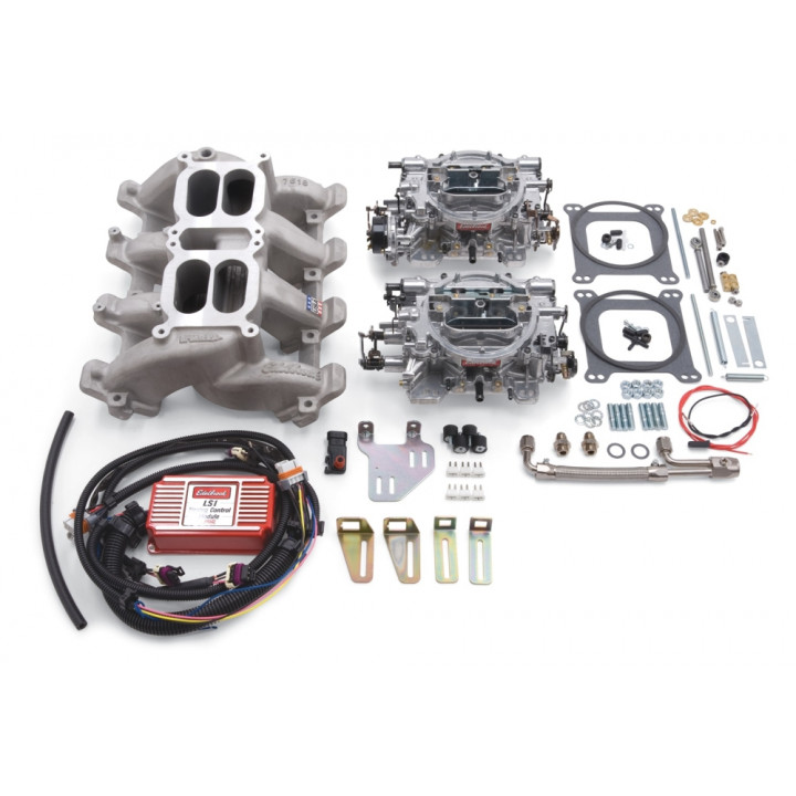 Edelbrock 2068 - Performer RPM Dual Quad Air-Gap Manifold and Carburetor Kits
